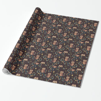 Brown owl bird gift wrapping paper