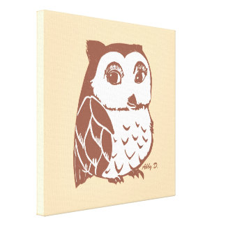 """Brown Owl Creme 12"""" x 12"""" Wrapped Canvas"""