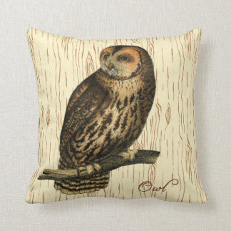 Brown Owl Cushion Wood Background