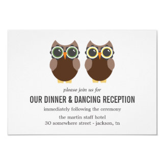 "Brown Owl Design Wedding Reception Cards 3.5"" X 5"" Invitation Card"