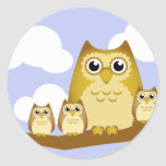 Brown Owl Family - 3 kids Classic Round Sticker