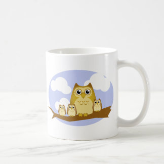 Brown Owl Family - 3 kids Coffee Mug