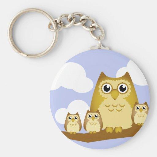 Brown Owl Family - 3 kids Basic Round Button Keychain