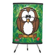 Brown Owl in a green and red Jungle Tripod Lamp