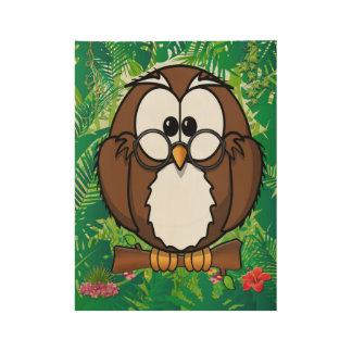 Brown Owl in a green and red Jungle Wood Poster