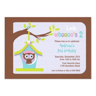 Brown Owl in Bird House Child's Birthday 5x7 Paper Invitation Card