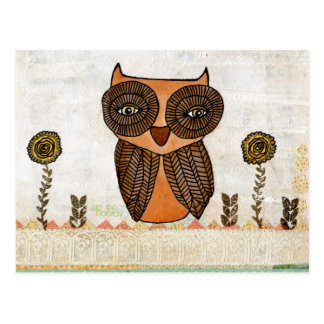 Brown Owl Lace and Flowers Mixed Media Art Postcard