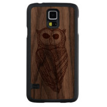 Brown Owl Line Drawing Carved Walnut Galaxy S5 Slim Case