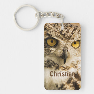 Brown owl looking at you add name Double-Sided rectangular acrylic keychain