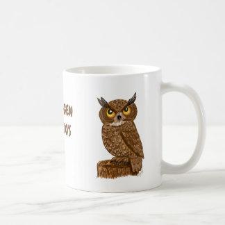 Brown owl on drinking mug saying oh happy friggen