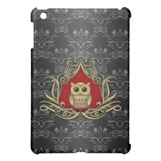 Brown Owl on Gothic Black and Red Damask iPad Mini Case