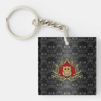 Brown Owl on Gothic Black and Red Damask Keychain