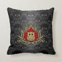 Brown Owl on Gothic Black and Red Damask Throw Pillow