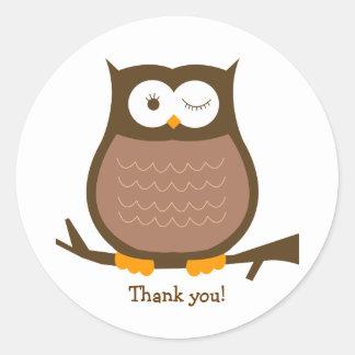 BROWN OWL Round Favor Sticker | Envelope Seal