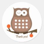 BROWN OWL Round Favor Sticker   Envelope Seal
