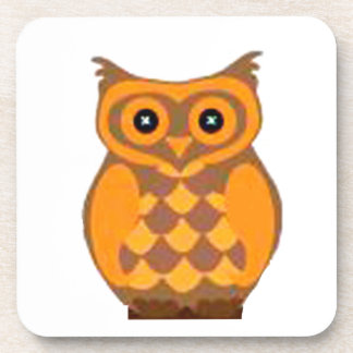 brown owl sitting in a branch beverage coaster