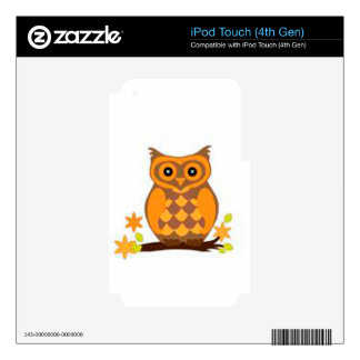 brown owl sitting in a branch skins for iPod touch 4G