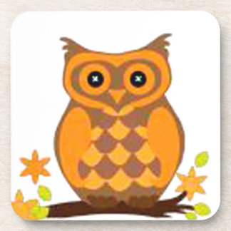 Brown Owl sitting on a branch Beverage Coaster
