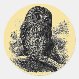 Brown Owl Sleeping Classic Round Sticker