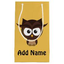 Brown owl small gift bag