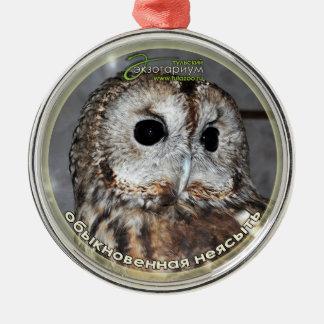 Brown owl - symbol of wisdom metal ornament