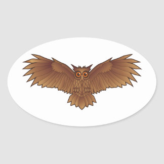 Brown Owl with Outstretched Wings Oval Sticker
