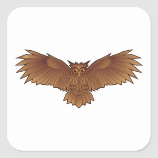 Brown Owl with Outstretched Wings Square Sticker
