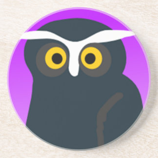 Brown Owl With Purple Background Coaster