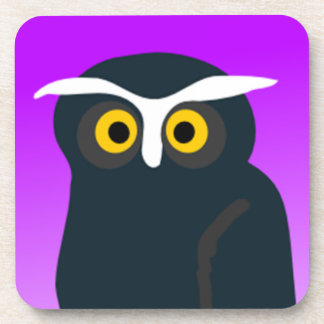 Brown Owl With Purple Background Drink Coaster