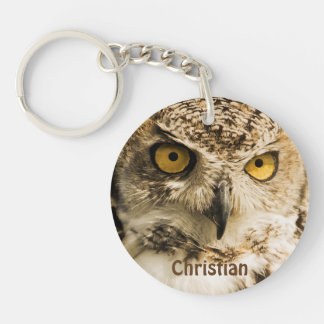 Brown owl with yellow eyes add name keychain