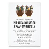 Brown Owls Design Wedding Invitations