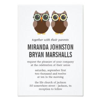 "Brown Owls Design Wedding Invitations 5"" X 7"" Invitation Card"