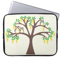 Brown Owls in a Laburnum Tree Computer Sleeve