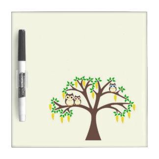 Brown Owls in a Laburnum Tree Dry Erase White Board