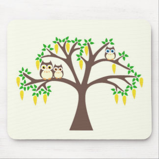 Brown Owls in a Laburnum Tree Mouse Mat