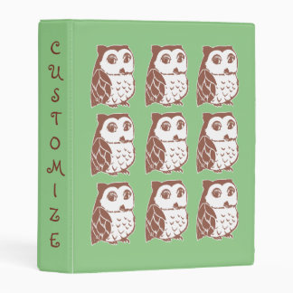 "Brown Owls Light Green Custom Mini 1"" Binder"