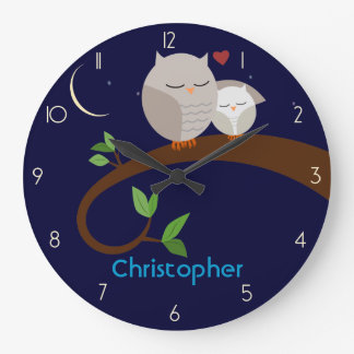 Brown Owls Personalized Wall Clock