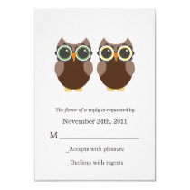 Brown Owls Wedding RSVP Cards Invites