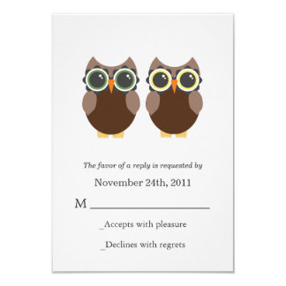 "Brown Owls Wedding RSVP Cards Invites 3.5"" X 5"" Invitation Card"