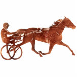 """Brown Pacer Silhouette Cutout<br><div class=""""desc"""">Harness Racing brown silhouette harness horse with cart and driver.</div>"""