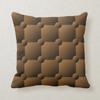 Brown padded quilt pattern throw pillow
