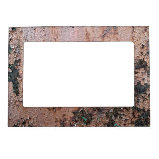 Brown Paint Rusted Metal Pattern Magnetic Frame