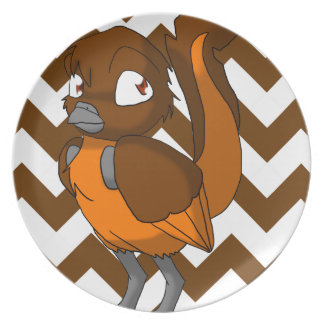 Brown/pájaro reptil anaranjado con la parte poster plato para fiesta