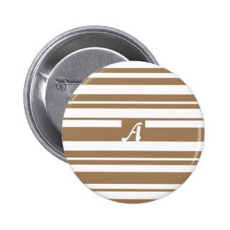 Brown pálido y monograma al azar blanco de las pins