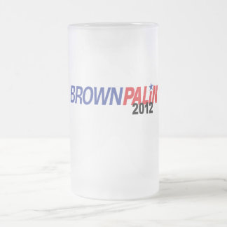 Brown Palin 2012 16 Oz Frosted Glass Beer Mug