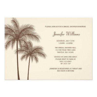 Brown Palm Tree Bridal Shower Invitation