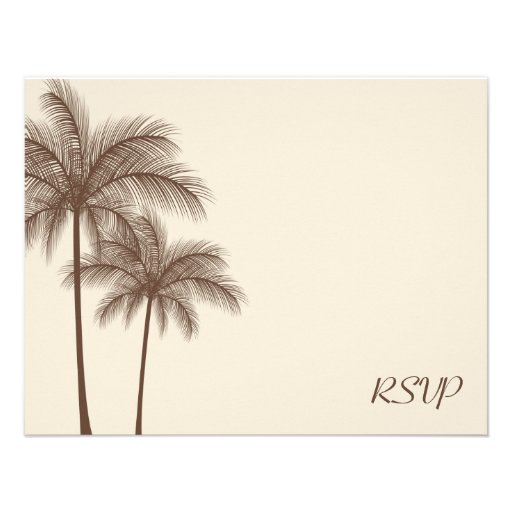 Brown Palm Tree RSVP Wedding Response Card Custom Announcements