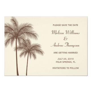 """Brown Palm Tree Save the Date Announcement 5"""" X 7"""" Invitation Card"""