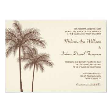 Beach Themed Brown Palm Tree Tropical Wedding Invitations