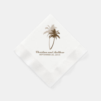 Brown Palm Trees Beach Wedding Paper Napkin